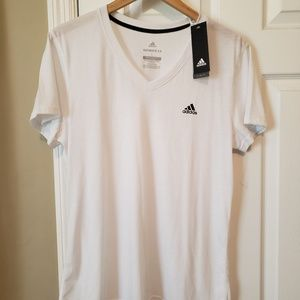 NEW White Adidas V-Neck Top Ladies Size Large